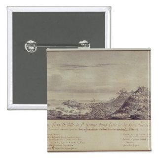A captação francesa Grenada, 1779 Bóton Quadrado 5.08cm