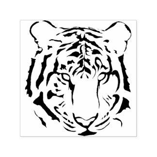 A cara preto e branco do tigre listra a silhueta carimbo auto entintado