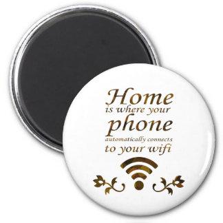 A casa é a o lugar onde seu telefone conecta autom ímã redondo 5.08cm