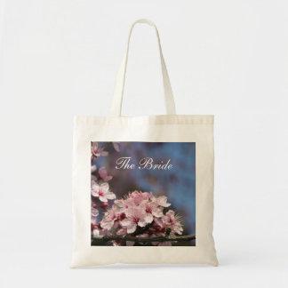 a cereja cor-de-rosa floresce o saco do casamento sacola tote budget