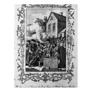 A cerimónia da colocação cartão postal