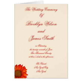 A cerimónia de casamento outono bege programa o cartões