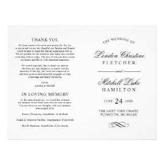 A cerimónia de casamento programa a elegância flyer 21.59 x 27.94cm