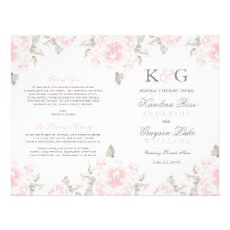 A cerimónia de casamento programa rosas panfleto coloridos
