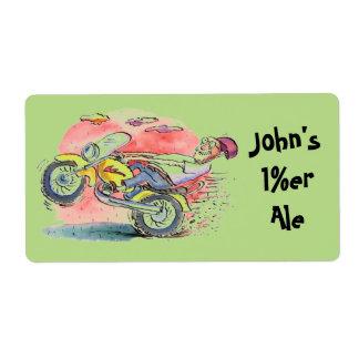 A cerveja da fermentação home do motociclista etiqueta de frete