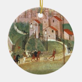 A cidade de Prato (fresco) Ornamento De Cerâmica Redondo