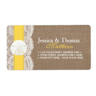 A coleção amarela do casamento de praia do dólar etiqueta de frete