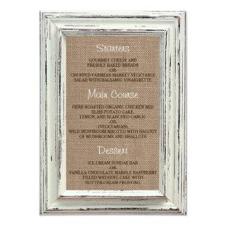 A coleção branca rústica do casamento do quadro & convite 11.30 x 15.87cm