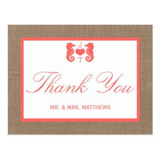 A coleção coral do casamento de praia de cartão postal