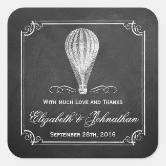 A coleção do casamento do balão de ar quente do adesivo quadrado