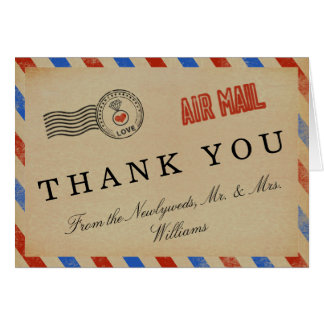 A coleção do casamento do correio aéreo do vintage cartão