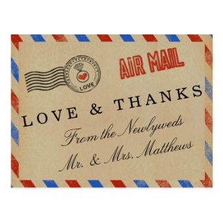 A coleção do casamento do correio aéreo do vintage cartão postal