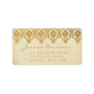 A coleção Glam do casamento tema damasco do ouro Etiqueta De Endereço