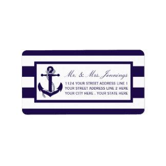 A coleção náutica do casamento da listra do etiqueta de endereço