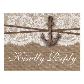 A coleção náutica rústica RSVP do casamento da Cartão Postal