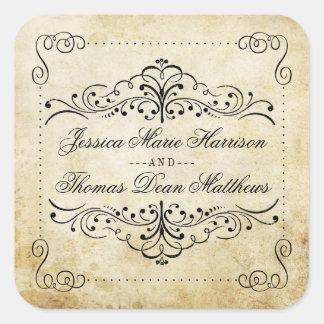 A coleção ornamentado do casamento vintage do adesivo quadrado
