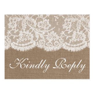 A coleção RSVP de serapilheira & de casamento do Cartão Postal