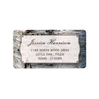 A coleção rústica do casamento da árvore de etiqueta de endereço