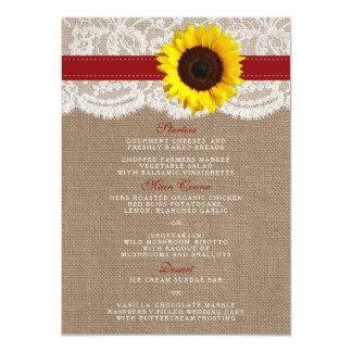 A coleção rústica do casamento do girassol - convite 11.30 x 15.87cm