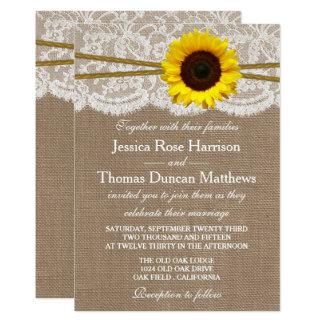A coleção rústica do casamento do girassol convite 12.7 x 17.78cm