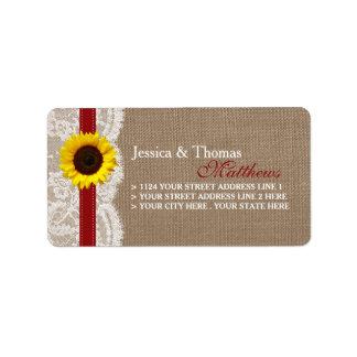 A coleção rústica do casamento do girassol - etiqueta de endereço