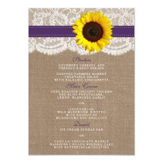 A coleção rústica do casamento do girassol - roxo convite 11.30 x 15.87cm