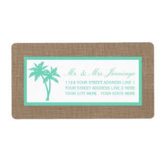 A coleção tropical do casamento de praia da etiqueta de frete