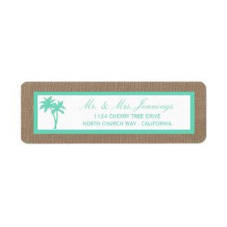 A coleção tropical do casamento de praia da etiqueta endereço de retorno