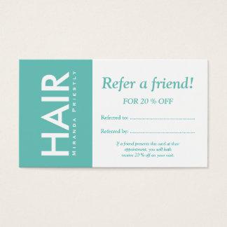 A composição branca moderna do cabelo de turquesa cartão de visitas