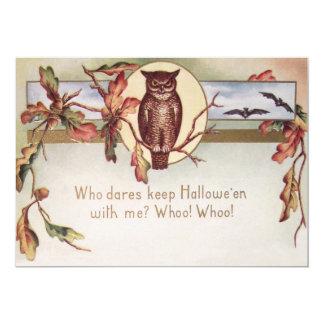 A cor da queda do outono do bastão da coruja deixa convite 12.7 x 17.78cm