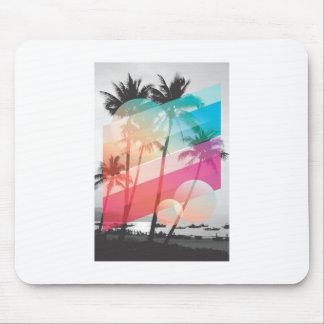 A cor moderna listra o fundo das árvores de coco mouse pad