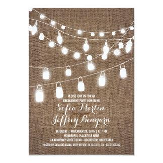 A corda rústica ilumina a festa de noivado de convite 12.7 x 17.78cm