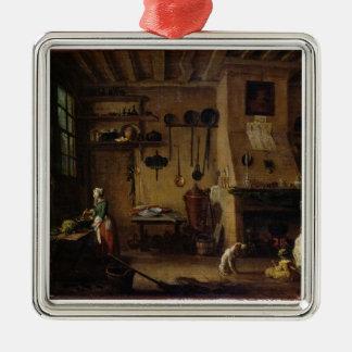 A cozinha burguês ornamento quadrado cor prata