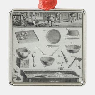 A cozinha e o equipamento de um padeiro, 'do ornamento quadrado cor prata