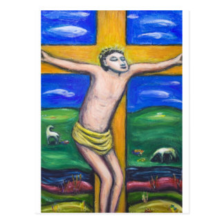 A crucificação pastoral (tema da cristandade) cartão postal
