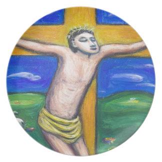 A crucificação pastoral (tema da cristandade) louças de jantar