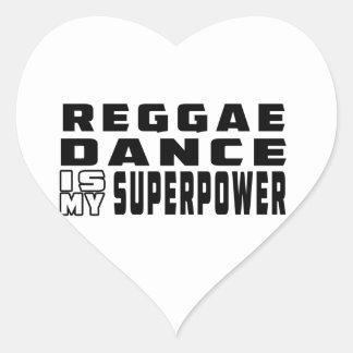 A dança da reggae é minha superpotência adesivos de corações