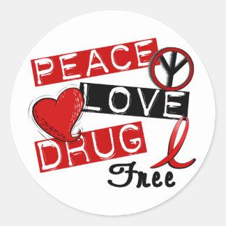A droga do amor da paz livra adesivo