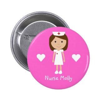A enfermeira bonito & os corações dos desenhos ani bóton redondo 5.08cm