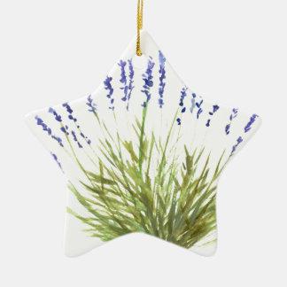 A erva da lavanda floresce o watercolour da arte ornamento de cerâmica estrela
