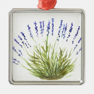 A erva da lavanda floresce o watercolour da arte ornamento quadrado cor prata