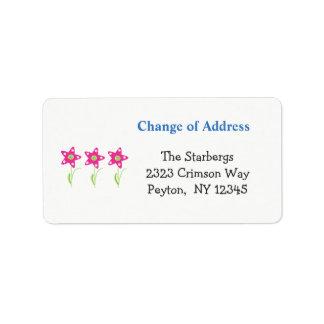 A estrela cor-de-rosa floresce o endereço etiqueta de endereço
