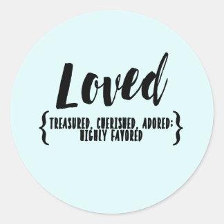 A etiqueta da bênção AMADA estimada, amado, adore
