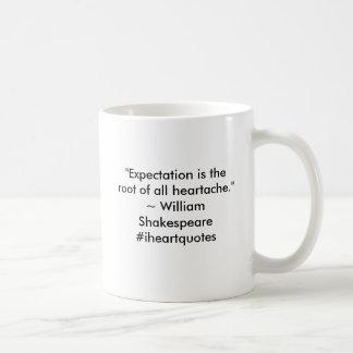 A expectativa é a raiz de toda a mágoa caneca de café
