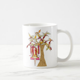 A fada bonita em uma flor decorou o balanço da caneca de café