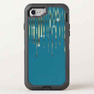 A faísca das moedas da cerceta e de ouro drapeja o capa para iPhone 7 OtterBox defender