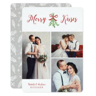 A feliz beija o cartão do feriado de três fotos convite 12.7 x 17.78cm