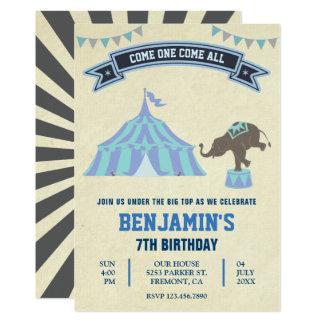 A festa de aniversário azul do circo do carnaval convite 12.7 x 17.78cm