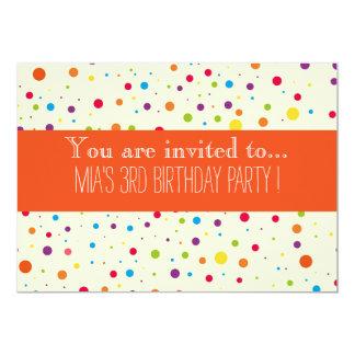 A festa de aniversário do miúdo colorido das convite 12.7 x 17.78cm