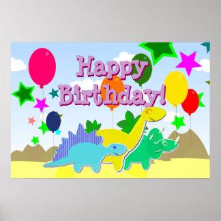 A festa de aniversário feliz Balloons o poster dos
